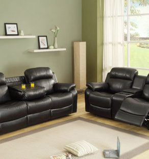 Homelegance-Marille-Double-Reclining-Sofa-w--Center-Drop-Down-Cup-Holders-in-Black-Leather-02